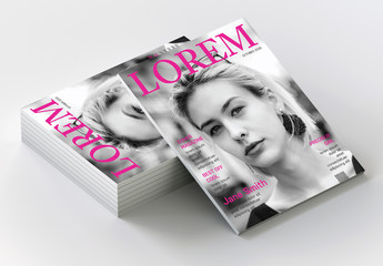 Fashion Magazine Cover Layout with Pink Accents