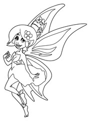 Line art illustration of happy cartoon fairy, flying with butterfly wings.