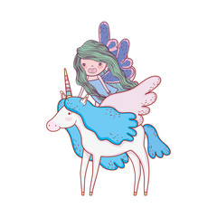 cute fairytale unicorn and fairy characters
