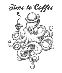 Octopus with Coffee Cup