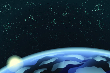 Sky Map of Hemisphere with Earth and Sunrise. Constellations on Night Dark Background. 3D Illustration