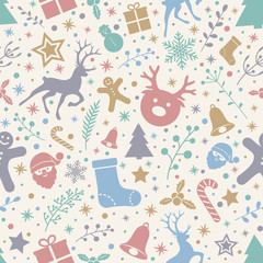 Christmas background with ornaments and seamless texture. Vector.