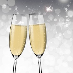 Vector Happy New Year with toasting glasses of champagne on white snow background in realistic style. Greeting card or party invitation with golden bright illustration.