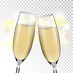 Vector Happy New Year with toasting glasses of champagne on transparent background in realistic style. Greeting card or party invitation with golden bright illustration.