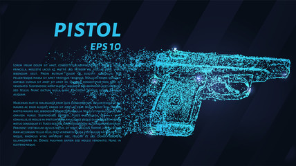 The pistol of the blue points of light. The pistol of the particles. Vector illustration.