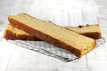 Frisian Reepkoek (bar cake) on wooden background
