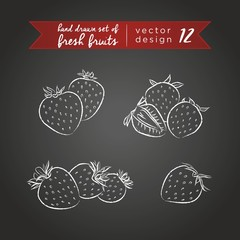 Strawberry. Set of fresh fruits, whole, half and bitten with leaf. Vector illustration. Isolated on blackboard