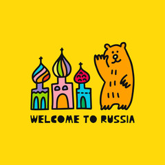 Travel card concept with cathedral, bear and text 'welcome to Russia' Doodle style