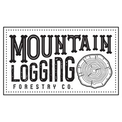 Vector Textured Retro Outdoor Mountain Logging Forestry Company Patch Logo in Black & White.