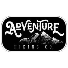 Vector Textured Retro Outdoor Mountain Adventure Hiking Company Patch Logo in Black & White