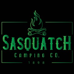 Vector Distressed Rectangle Sasquatch Camping Company Log Campfire Logo in Neon Green Gradient