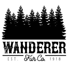 Vector Distressed Wanderer Fur Company Outdoor Adventure Tree Forest Logo in Black and White