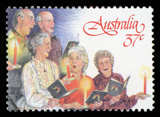 AUSTRALIA - CIRCA 1987: A used postage stamp from Australia, depicting a festive Christmas...