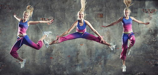 Multiple portrait of a fit, active girl