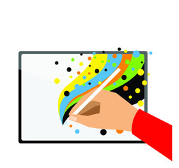 Hand Drawing Funny Colors on New Tablet. Professional Illustration. Vectoral or Pixel Art