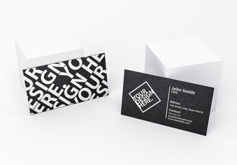 Business Cards with White Cubes Mockup