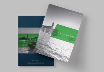 Dark Blue and Green Brochure Layout