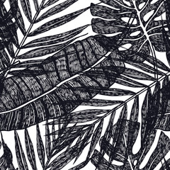 Tropical palm leaves Vector seamless pattern Background illustration