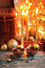 festive still life with Cup of coffee and Christmas decorations. selective soft focus, toning