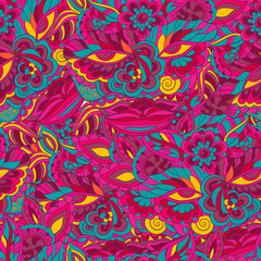 Indian style colorful doodle seamless pattern, postmodern mask face. Use for web design,templates,invitation cards,posters,flyers,festivals,advertisement.