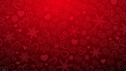 Background of snowflakes and hearts with ornament of curls, in red colors