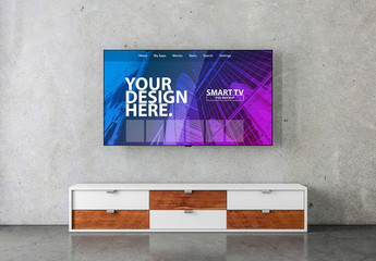 Smart TV Hanging on Concrete Wall Mockup