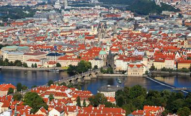 Prague in Czech Republic with charles bridge  and Vltava river