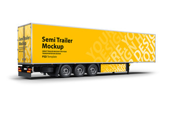 Semi Truck Trailer Mockup