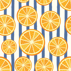 Vector orange pattern. Orange sliced pattern. Seamless orange slices background