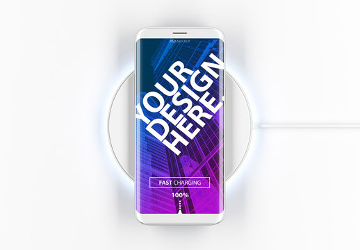 White Smartphone on Wireless Charger Mockup