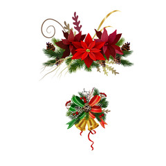 Christmas festive decoration from christmas tree branches