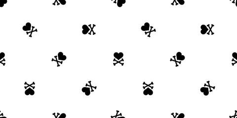 Heart cross bone seamless pattern vector Valentine Halloween isolated background wallpaper