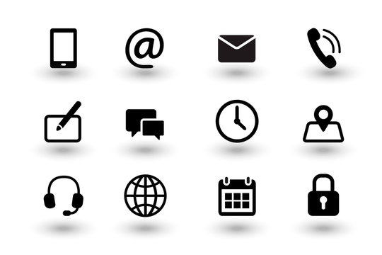 Set of contact us and web communacation icons. Simple flat black vector icons collection isolated on white background with shadows. Vector eps10