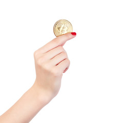 Bitcoin holding in hand isolated on white background