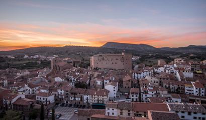 Mora de Rubielos Castle lighting in Teruel Spain Gudar Sierra sunset view panorama lights