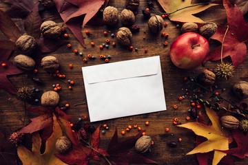 Autumn mail envelope flat lay mock up