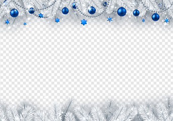 Christmas and New Year transparent background with fir branches and blue Christmas balls.