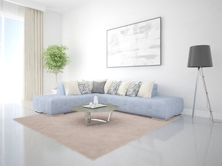 Mock up a spacious living room with a creative corner sofa and a bright hipster backdrop.
