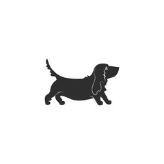 Vector illustration. Flat style icon of basset hound for different design. Cute family dog. Simple silhouette pictogram for different design.
