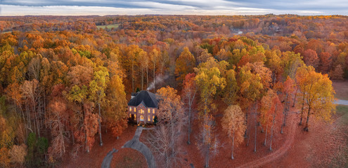 Fall home drone shot