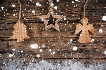 Christmas vintage decoration on wooden background