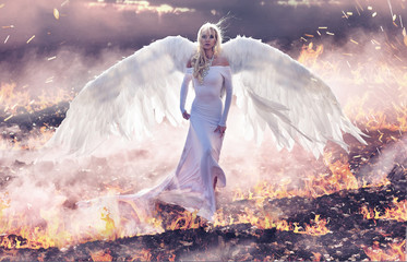 Conceptual portrait of an angel walking on hell flames