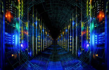 Big data abstract visualization. Futuristic aesthetic design. Big data background with HUD elements. on storage tapes in modern internet data center room