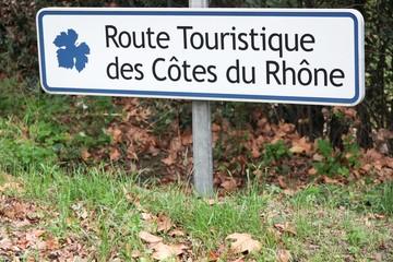 Touristic road of Cotes du Rhone roadsign in France