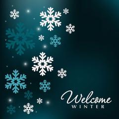 Snowflakes border over blue holiday background, festive winter  decoration illustration. Magic Christmas illustration.