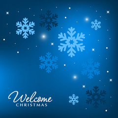 Blue holiday background with snowflakes decoration.