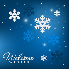Winter beautiful decor with lights and snowflakes decoration. Christmas holiday background.