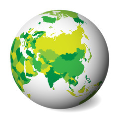 Blank political map of Asia. 3D Earth globe with green map. Vector illustration.