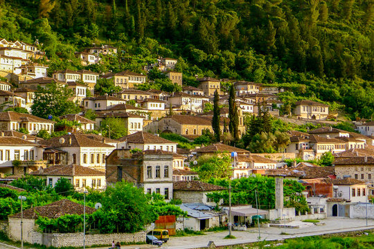 The sun sets over the Ottoman style town of Berat, known as the city of a thousand windows, in southern Albania