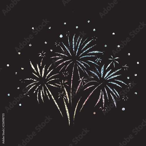 firework glitter foil in rainbow pastell colors on black background for